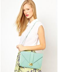 ASOS - Green Clutch Bag with Strap and Fitting - Lyst