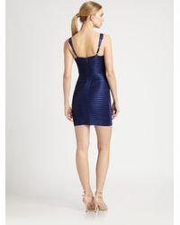BCBGMAXAZRIA Blue Satin Bandage Dress