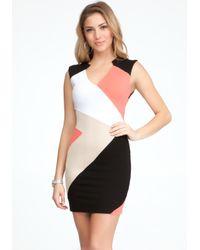 Bebe - Black Colorblock Dress Online Exclusive - Lyst