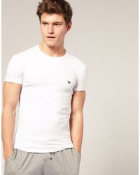 Emporio Armani | White Stretch Cotton Crew Neck T-shirt In Extreme Fitted Fit for Men | Lyst