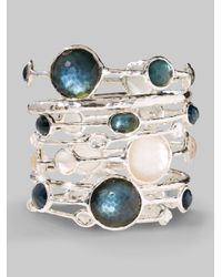 Ippolita | White Wonderland Mother-of-pearl, Clear Quartz & Sterling Silver Six-stone Doublet Bangle Bracelet | Lyst