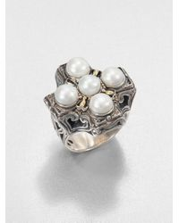 Konstantino | White Cultured Pearl Sterling Silver and 18k Yellow Gold Cross Ring | Lyst