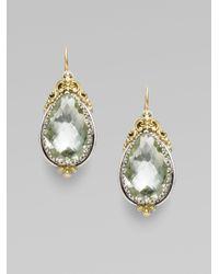 Konstantino - Green Prasiolite Sterling Silver 18k Yellow Gold Earrings - Lyst