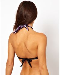 ASOS - Black Marie Meili Contrast Print Tie V Bandeau Bikini Top - Lyst