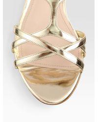 Miu Miu | Metallic Leather Jewel Sandals | Lyst