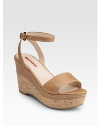 Prada | Natural Cork Wedge Sandals | Lyst