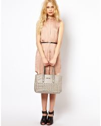 River Island - Gray Stud Front Bag - Lyst