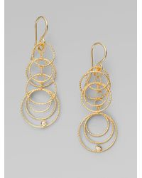 Roberto Coin - Metallic 18k Gold Diamond Moresque Circle Drop Earrings - Lyst