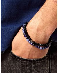 Simon Carter - Black Skull Beaded Bracelet Pack for Men - Lyst