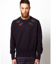 YMC - Blue Sweatshirt with Floral Embroidery for Men - Lyst