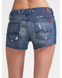 7 For All Mankind - Blue Mid Roll Up Cali Del Sol Shorts - Lyst