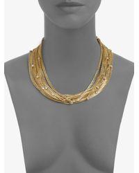 ABS By Allen Schwartz - Metallic Glass Stone Multichain Necklace - Lyst