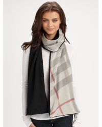 Burberry | Gray Cashmere Reversible Knit Scarf | Lyst