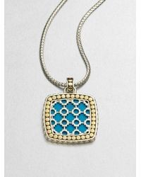 John Hardy - Metallic Turquoise 18k Yellow Gold and Sterling Silver Enhancer - Lyst