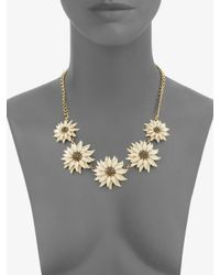 kate spade new york - Metallic Cream Floral Link Necklace - Lyst