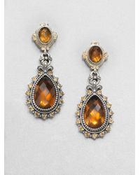 Konstantino | Orange Cognac Quartz Citrine Sterling Silver and 18k Yellow Gold Earrings | Lyst