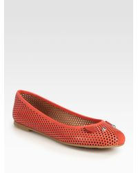 Marc By Marc Jacobs - Black Perforated Leather Mouse Ballet Flats - Lyst