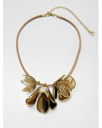 Marni | Metallic Horn Floral Pendant Necklace | Lyst