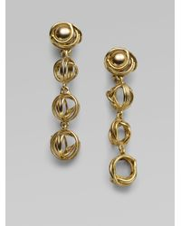 Oscar de la Renta | Metallic Caged Ball Drop Earrings | Lyst