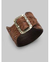Ralph Lauren Blue Label - Brown Embossed Leather Bracelet - Lyst