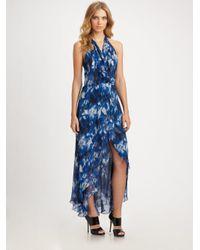 Robert Rodriguez | Blue Animal-print Silk Dress | Lyst