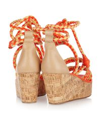 Tory Burch | Orange Braided Leather and Cork Wedge Sandals | Lyst
