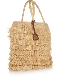 Tory Burch | Natural Fringed Raffia Tote | Lyst