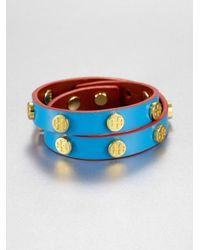 Tory Burch | Blue Double Wrap Leather Bracelet | Lyst