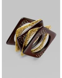 ABS By Allen Schwartz | Brown Wood Bangle Bracelet Set | Lyst