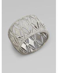 Adriana Orsini | Metallic Crystal Accented Diamond Leaf Bangle Bracelet | Lyst