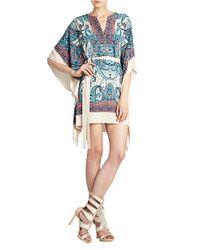 BCBGMAXAZRIA | Blue Inesa Draped Scarf printed Dress | Lyst
