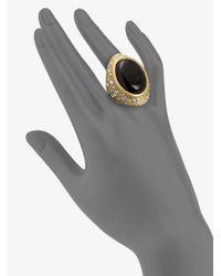 ABS By Allen Schwartz - Black Textured Cabochon Ring - Lyst