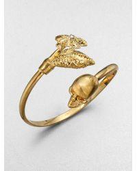 Alexander McQueen - Metallic Swarovski Crystal Accented Skull Claw Bangle Bracelet - Lyst