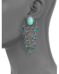 Clara Kasavina - Blue Cabochon Filigree Chandelier Earrings - Lyst
