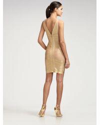 Hervé Léger | Metallic Foil Print Bandage Dress | Lyst