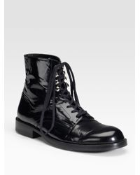 Junya Watanabe - Black Flat Lace-up Shiny Leather Ankle Boots - Lyst