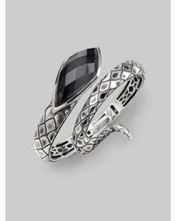 Stephen Webster - Metallic Grey Cats Eye Crystal Haze Sterling Silver Snake Bracelet - Lyst