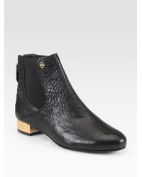 bbc4da315da Lyst - Tory Burch Adaire Pebbled Leather Ankle Boots in Black