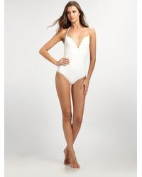 Chloé | White Scalloped Edge One-piece Swimsuit | Lyst
