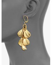 MILLY - Metallic Golden Petal Drop Earrings - Lyst