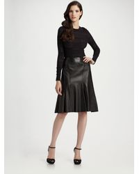 Ralph Lauren Black Label - Black Evali Leather Skirt - Lyst