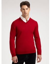 Saks Fifth Avenue | Red Merino Wool Sweater for Men | Lyst