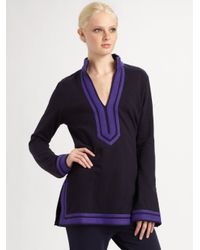 Tory Burch - Blue Geometric Tunic Top - Lyst