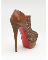 Christian Louboutin - Brown Pampas Laser-cut Leather Ankle Boots - Lyst
