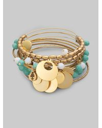 ALEX AND ANI | Blue Bell Bangle Bracelet Set | Lyst
