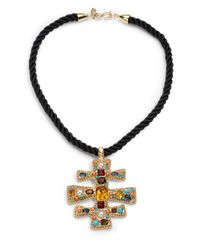 Kenneth Jay Lane | Black Glass Stone Cord Necklace | Lyst