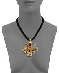 Kenneth Jay Lane   Black Glass Stone Cord Necklace   Lyst