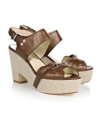 MICHAEL Michael Kors | Brown Fallyn Leather Wedge Sandals | Lyst