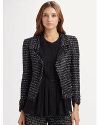Oscar de la Renta - Black Cropped Tweed Jacket - Lyst