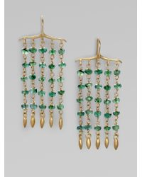 Padma | Green 14k Gold 10k Gold Emerald Dangling Fringe Earrings | Lyst